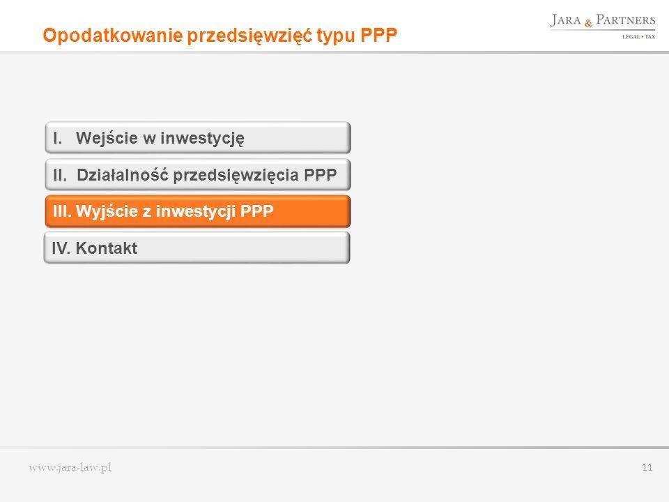 www.jara-law.pl 11 I. Wejście w inwestycję II. Działalność przedsięwzięcia PPP III. Wyjście z inwestycji PPP Opodatkowanie przedsięwzięć typu PPP IV.