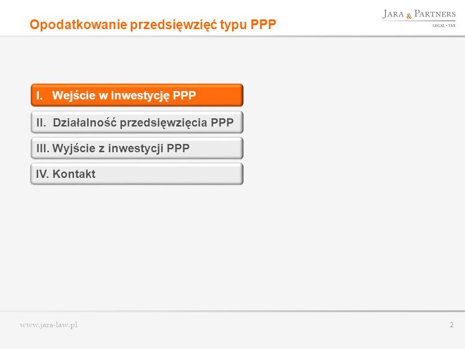 www.jara-law.pl 2 Opodatkowanie przedsięwzięć typu PPP I. Wejście w inwestycję PPP III. Wyjście z inwestycji PPP II. Działalność przedsięwzięcia PPP I