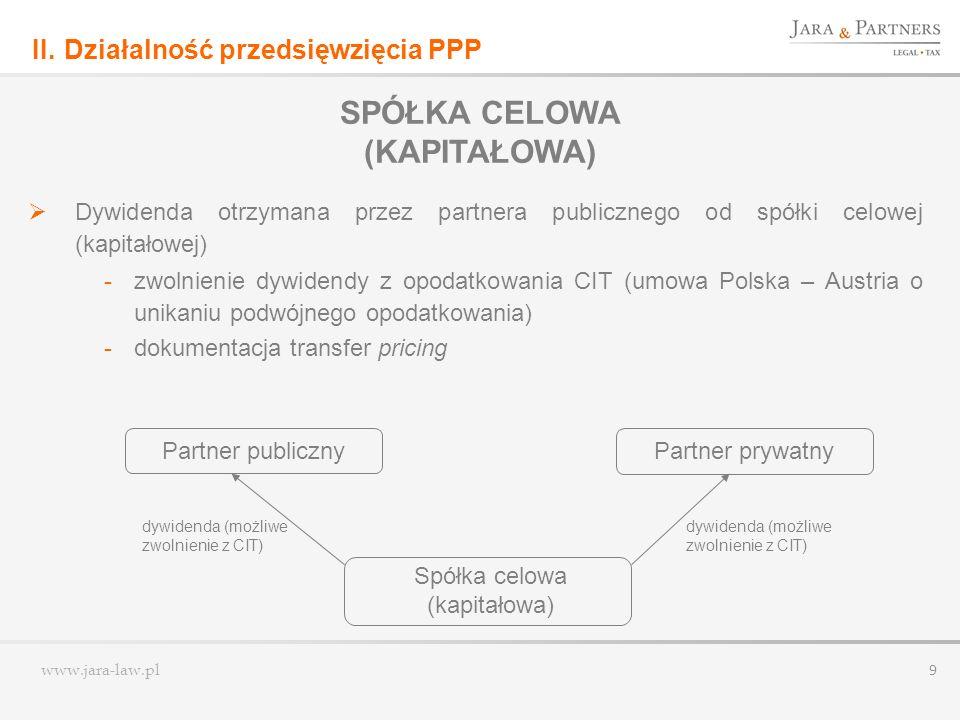 www.jara-law.pl 9 Dywidenda otrzymana przez partnera publicznego od spółki celowej (kapitałowej) -zwolnienie dywidendy z opodatkowania CIT (umowa Pols
