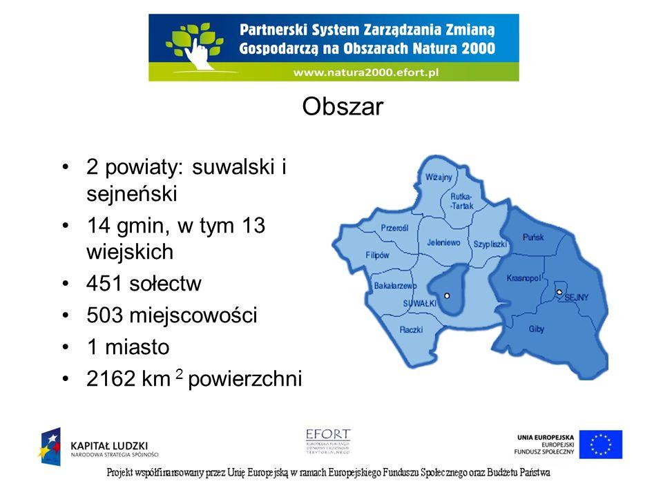 Obszar 2 powiaty: suwalski i sejneński 14 gmin, w tym 13 wiejskich 451 sołectw 503 miejscowości 1 miasto 2162 km 2 powierzchni