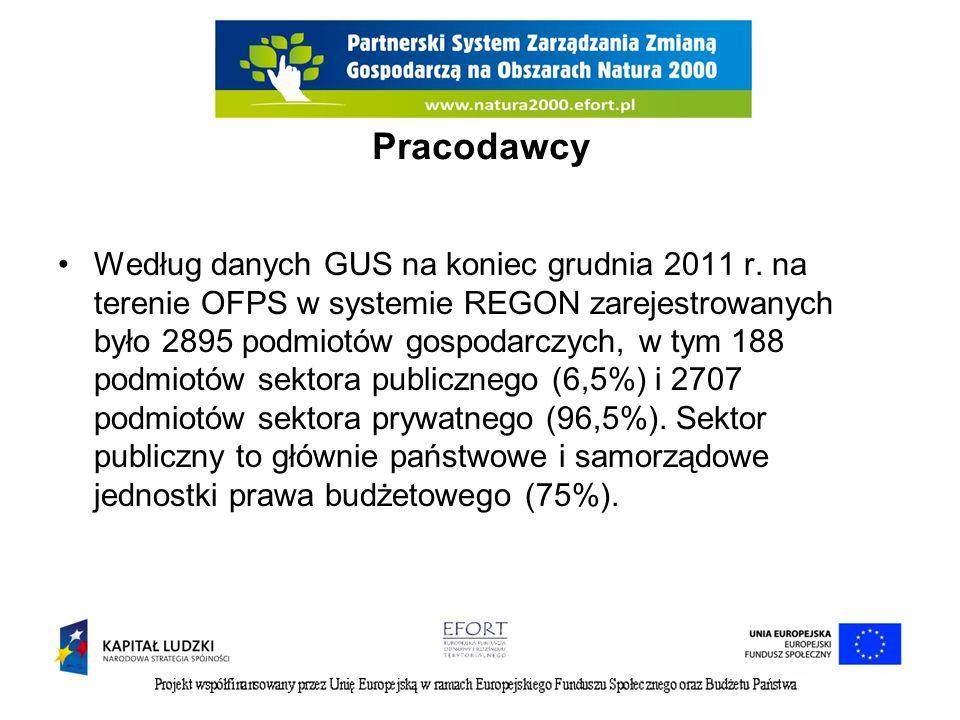 Pracodawcy Według danych GUS na koniec grudnia 2011 r. na terenie OFPS w systemie REGON zarejestrowanych było 2895 podmiotów gospodarczych, w tym 188