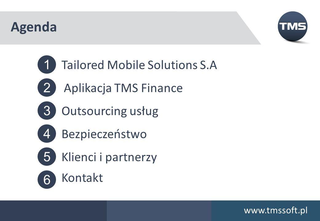 5 6 4 3 2 1 Agenda www.tmssoft.pl 2 Tailored Mobile Solutions S.A Aplikacja TMS Finance Bezpieczeństwo Outsourcing usług Klienci i partnerzy Kontakt