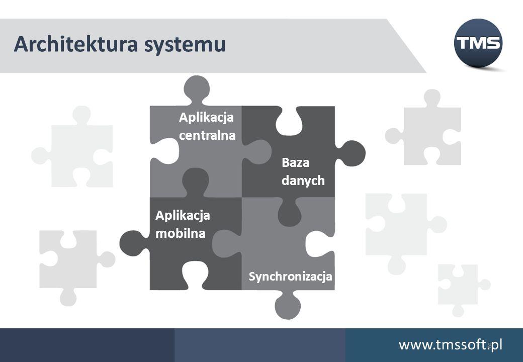 Architektura systemu www.tmssoft.pl Aplikacja centralna Baza danych Aplikacja mobilna Synchronizacja 8
