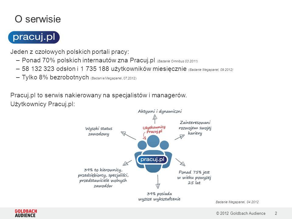 Profil użytkownika pracuj.pl © 2012 Goldbach Audience3 Badanie Megapanel, 04.2012