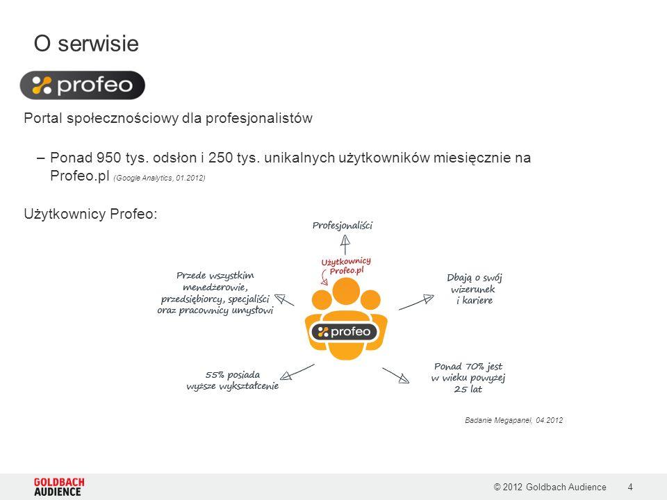 O serwisie © 2012 Goldbach Audience4 Portal społecznościowy dla profesjonalistów –Ponad 950 tys.