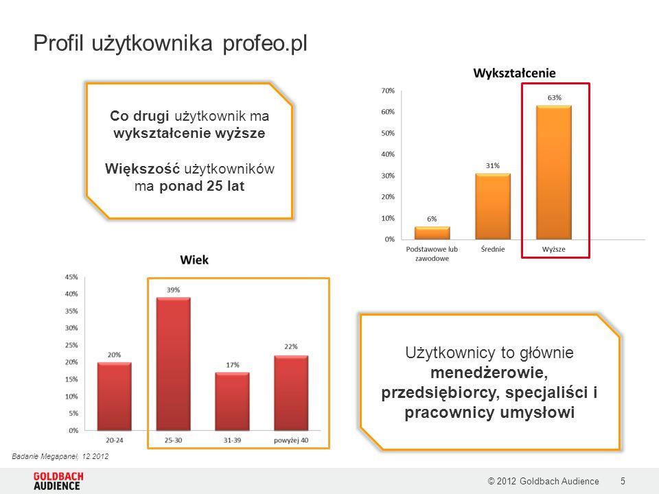 Profil użytkownika profeo.pl © 2012 Goldbach Audience5 Co drugi użytkownik ma wykształcenie wyższe Większość użytkowników ma ponad 25 lat Użytkownicy to głównie menedżerowie, przedsiębiorcy, specjaliści i pracownicy umysłowi Badanie Megapanel, 12.2012