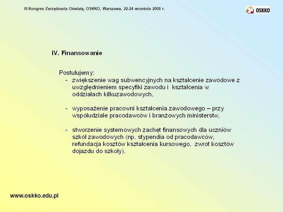 III Kongres Zarządzania Oświatą, OSKKO, Warszawa, 22-24 września 2008 r. www.oskko.edu.pl