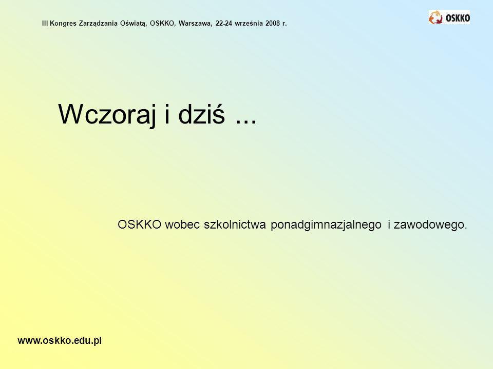 Wczoraj i dziś... OSKKO wobec szkolnictwa ponadgimnazjalnego i zawodowego. III Kongres Zarządzania Oświatą, OSKKO, Warszawa, 22-24 września 2008 r. ww