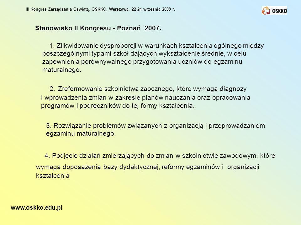 III Kongres Zarządzania Oświatą, OSKKO, Warszawa, 22-24 września 2008 r. 1. Zlikwidowanie dysproporcji w warunkach kształcenia ogólnego między poszcze