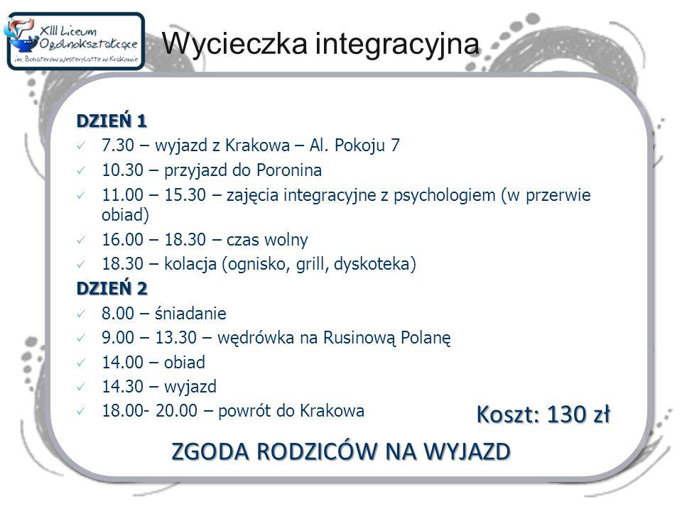 Wycieczka integracyjna DZIEŃ 1 7.30 – wyjazd z Krakowa – Al. Pokoju 7 10.30 – przyjazd do Poronina 11.00 – 15.30 – zajęcia integracyjne z psychologiem