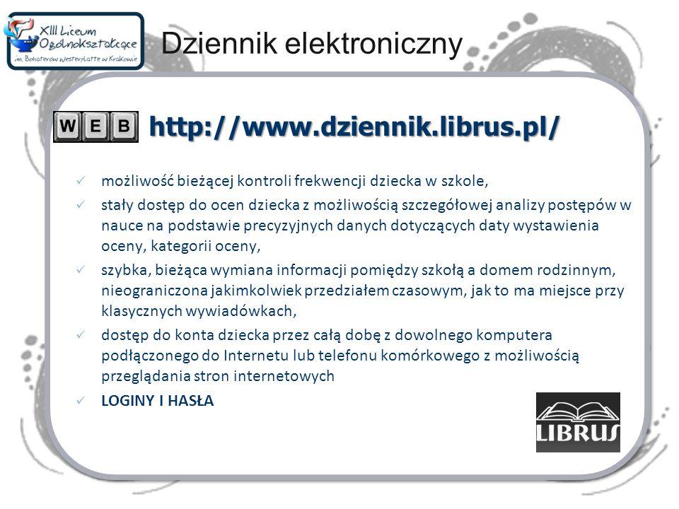 Dziennik elektroniczny http://www.dziennik.librus.pl/ możliwość bieżącej kontroli frekwencji dziecka w szkole, stały dostęp do ocen dziecka z możliwoś