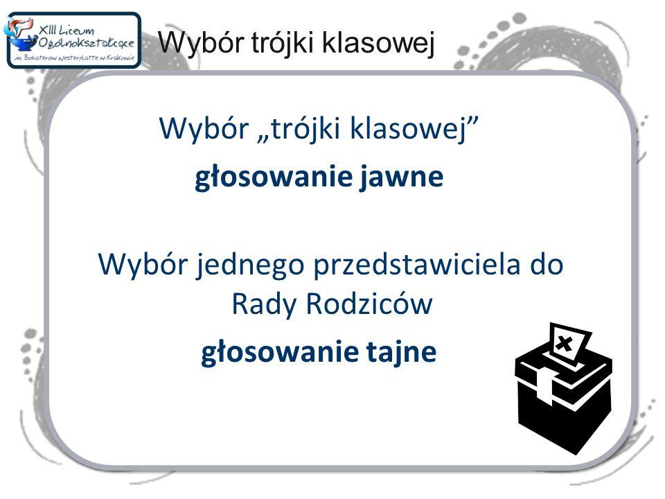 Wybór trójki klasowej głosowanie jawne Wybór jednego przedstawiciela do Rady Rodziców głosowanie tajne