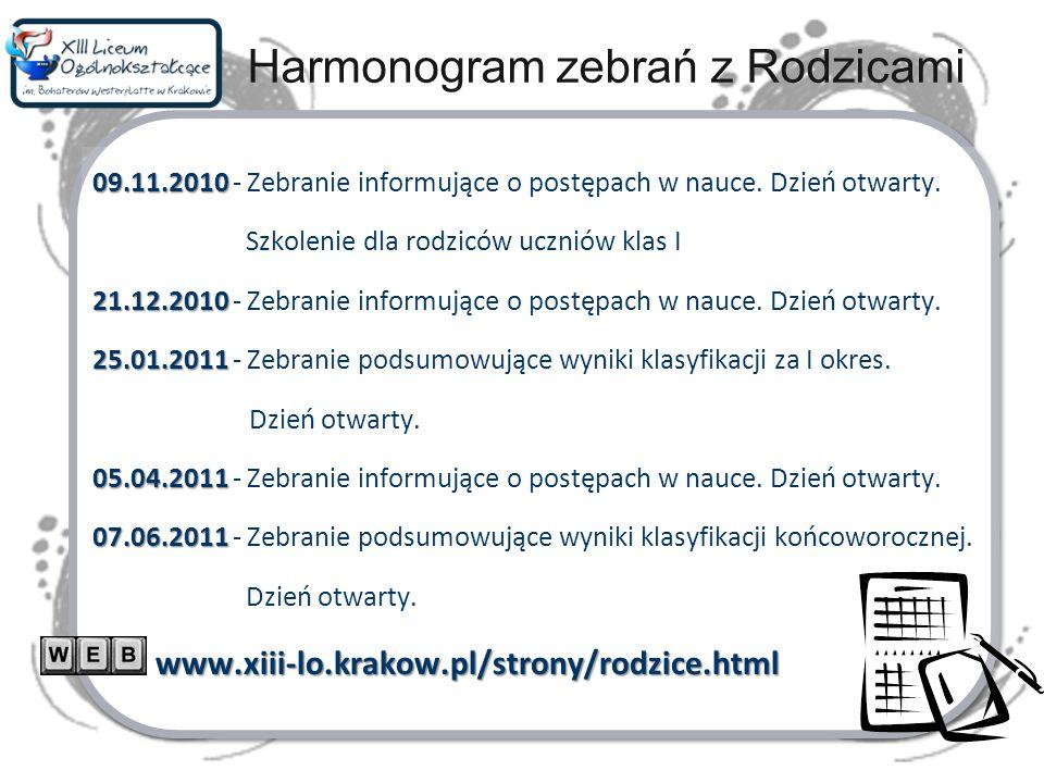 Kryteria oceniania Statut szkoły Wewnątrzszkolny regulamin oceniania, klasyfikowania i promowania uczniów -> OCENY Z ZACHOWANIAwww.xiii-lo.krakow.pl/strony/dokumenty.html Przedmiotowe systemy oceniania do wglądu w bibliotece szkolnej Informatyka:www.xiii-lo.krakow.pl/ms/lekcje.html PODPISANIE OŚWIADCZENIA O ZAPOZNANIU SIĘ Z DOKUMENTAMI