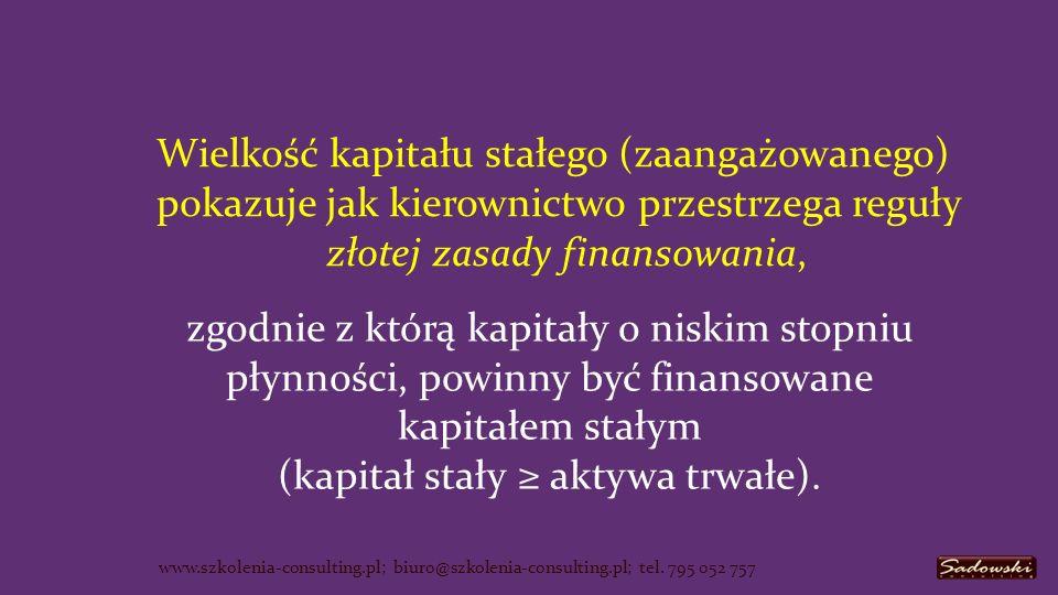 Wielkość kapitału stałego (zaangażowanego) pokazuje jak kierownictwo przestrzega reguły złotej zasady finansowania, www.szkolenia-consulting.pl; biuro@szkolenia-consulting.pl; tel.