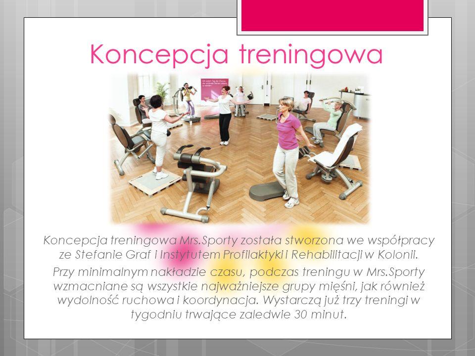 Koncepcja treningowa Koncepcja treningowa Mrs.Sporty została stworzona we współpracy ze Stefanie Graf i Instytutem Profilaktyki i Rehabilitacji w Kolo