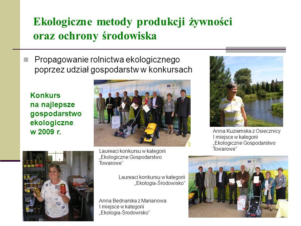 Ekologiczne metody produkcji żywności oraz ochrony środowiska Propagowanie rolnictwa ekologicznego poprzez udział gospodarstw w konkursach Konkurs na