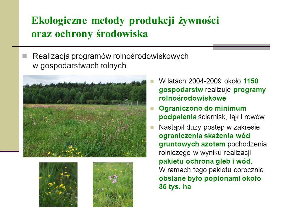 Ekologiczne metody produkcji żywności oraz ochrony środowiska Realizacja programów rolnośrodowiskowych w gospodarstwach rolnych W latach 2004-2009 oko