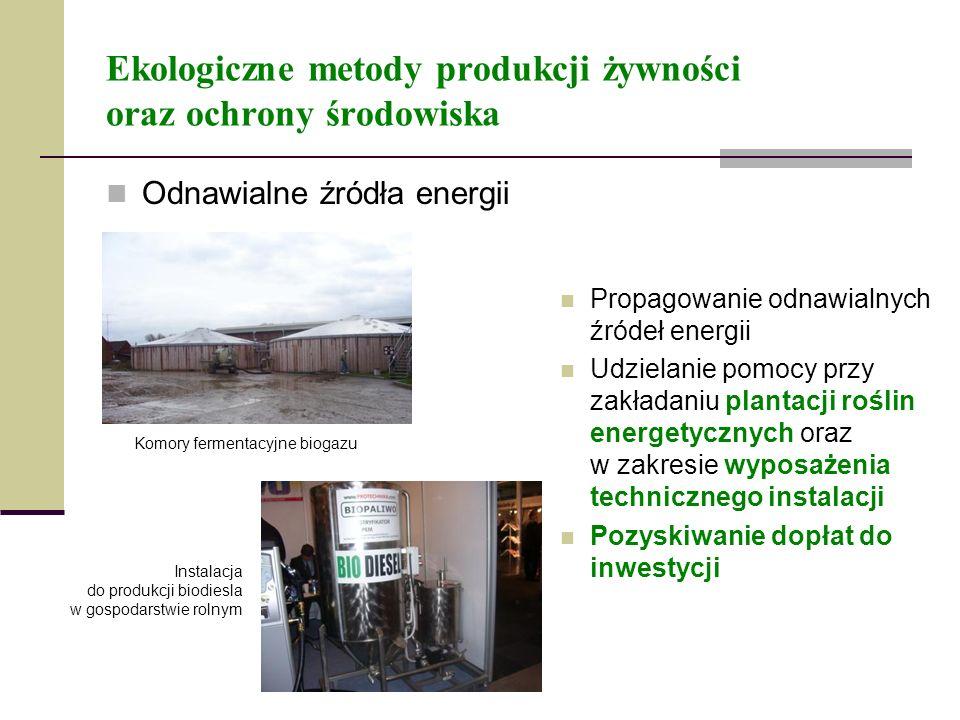 Ekologiczne metody produkcji żywności oraz ochrony środowiska Odnawialne źródła energii Propagowanie odnawialnych źródeł energii Udzielanie pomocy prz