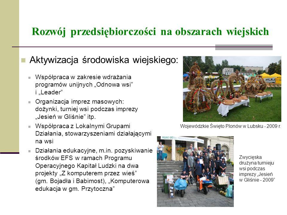 Rozwój przedsiębiorczości na obszarach wiejskich Aktywizacja środowiska wiejskiego: Współpraca w zakresie wdrażania programów unijnych Odnowa wsi i Le