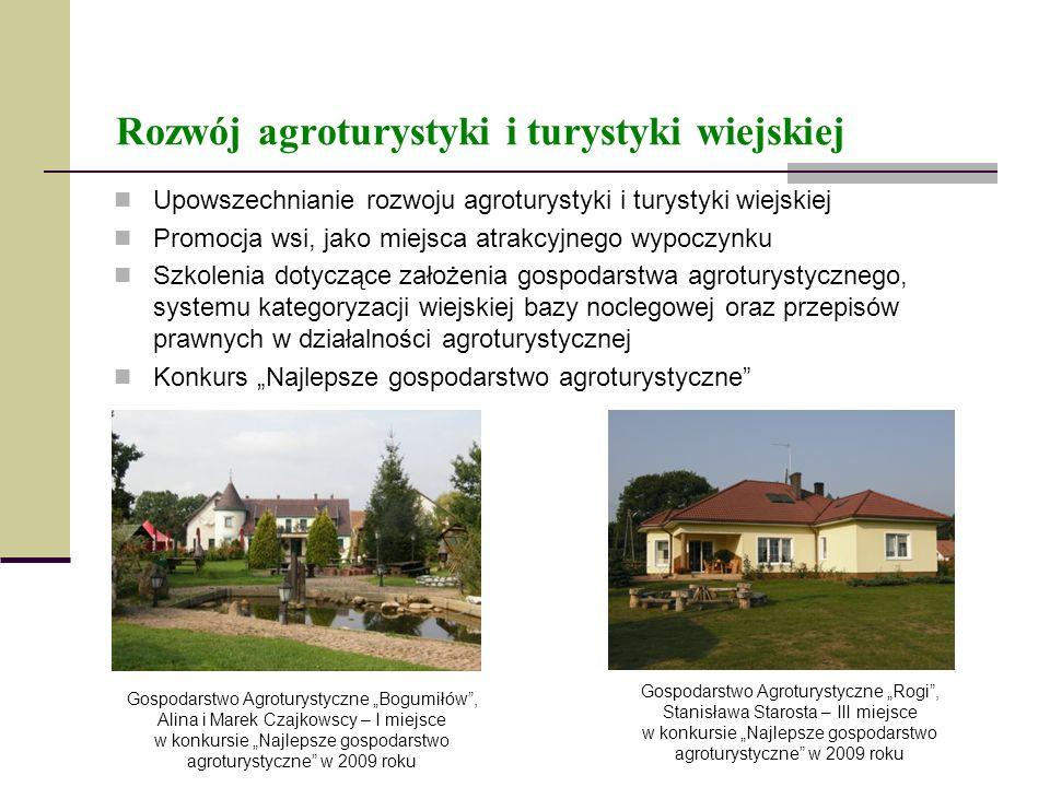 Rozwój agroturystyki i turystyki wiejskiej Upowszechnianie rozwoju agroturystyki i turystyki wiejskiej Promocja wsi, jako miejsca atrakcyjnego wypoczy