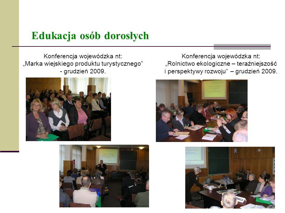 Edukacja osób dorosłych Konferencja wojewódzka nt: Marka wiejskiego produktu turystycznego - grudzień 2009. Konferencja wojewódzka nt: Rolnictwo ekolo