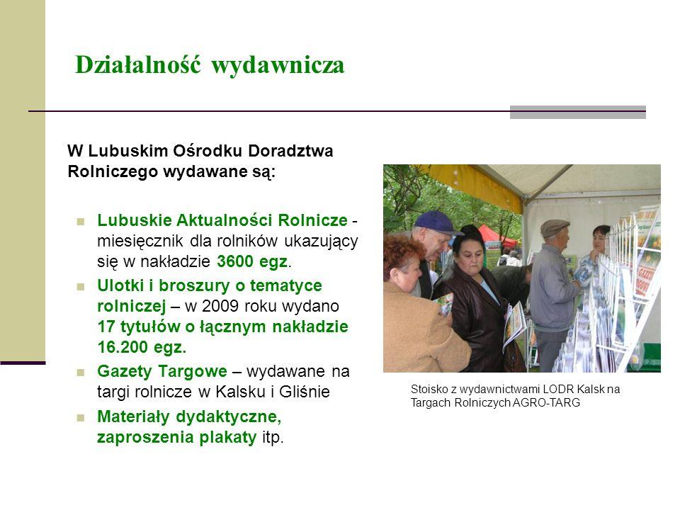 Działalność wydawnicza W Lubuskim Ośrodku Doradztwa Rolniczego wydawane są: Lubuskie Aktualności Rolnicze - miesięcznik dla rolników ukazujący się w n