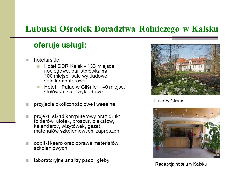 Lubuski Ośrodek Doradztwa Rolniczego w Kalsku oferuje usługi: hotelarskie: Hotel ODR Kalsk - 133 miejsca noclegowe, bar-stołówka na 100 miejsc, sale w