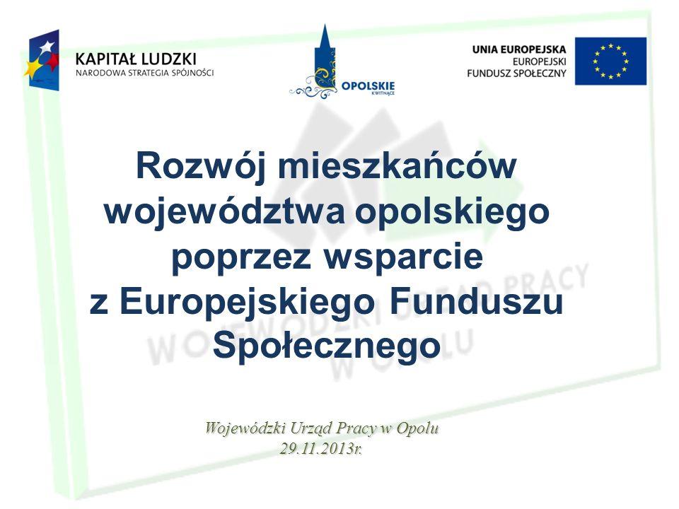 Rozwój mieszkańców województwa opolskiego poprzez wsparcie z Europejskiego Funduszu Społecznego Wojewódzki Urząd Pracy w Opolu 29.11.2013r.