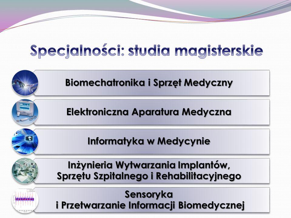 Biomechatronika i Sprzęt Medyczny Elektroniczna Aparatura Medyczna Informatyka w Medycynie Inżynieria Wytwarzania Implantów, Sprzętu Szpitalnego i Rehabilitacyjnego Sensoryka i Przetwarzanie Informacji Biomedycznej