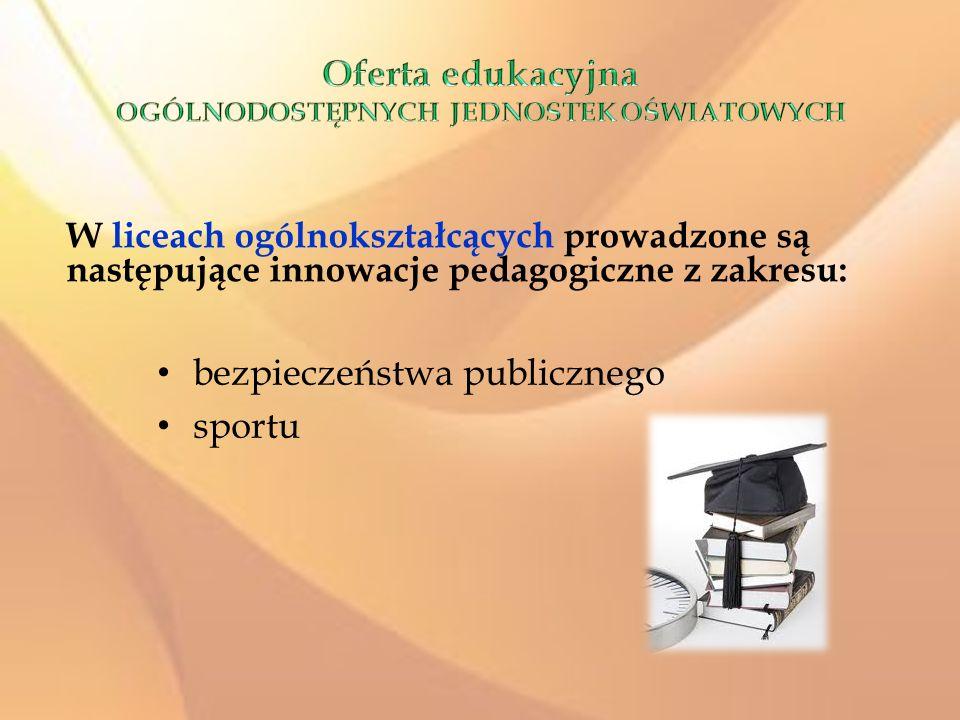 bezpieczeństwa publicznego sportu W liceach ogólnokształcących prowadzone są następujące innowacje pedagogiczne z zakresu: