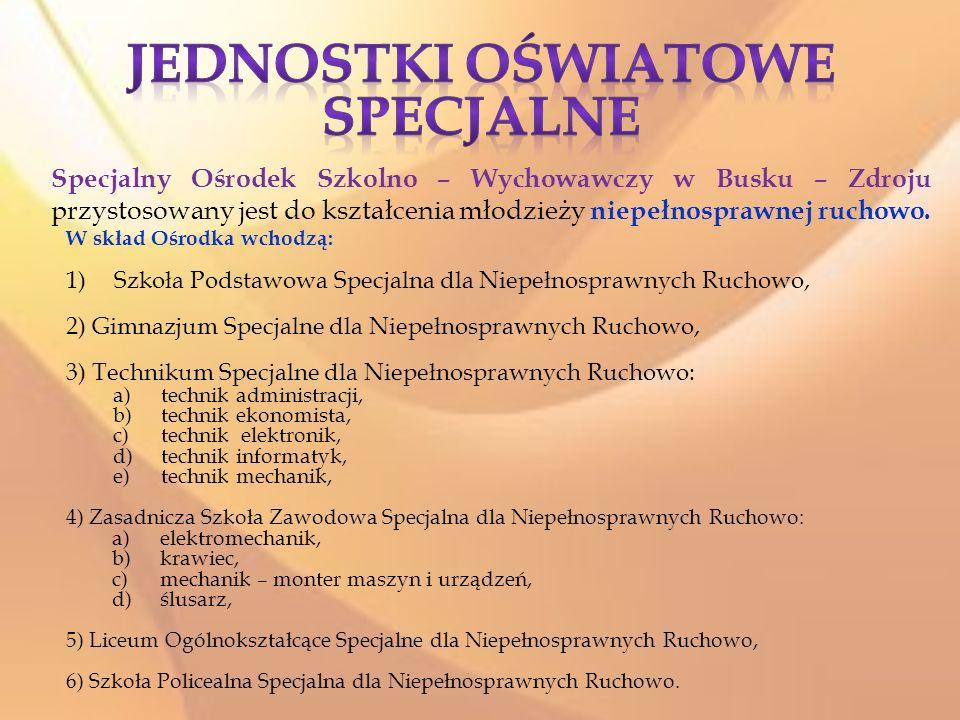 Specjalny Ośrodek Szkolno – Wychowawczy w Busku – Zdroju przystosowany jest do kształcenia młodzieży niepełnosprawnej ruchowo. W skład Ośrodka wchodzą