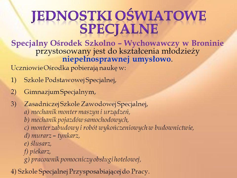 Specjalny Ośrodek Szkolno – Wychowawczy w Broninie przystosowany jest do kształcenia młodzieży niepełnosprawnej umysłowo.