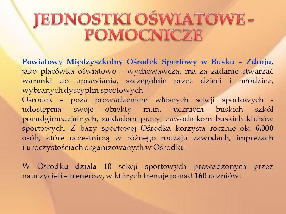 Powiatowy Międzyszkolny Ośrodek Sportowy w Busku – Zdroju, jako placówka oświatowo – wychowawcza, ma za zadanie stwarzać warunki do uprawiania, szczególnie przez dzieci i młodzież, wybranych dyscyplin sportowych.