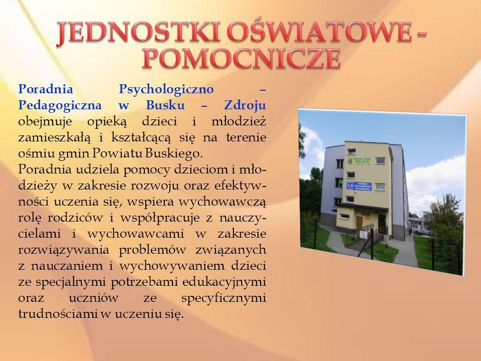 Poradnia Psychologiczno – Pedagogiczna w Busku – Zdroju obejmuje opieką dzieci i młodzież zamieszkałą i kształcącą się na terenie ośmiu gmin Powiatu B