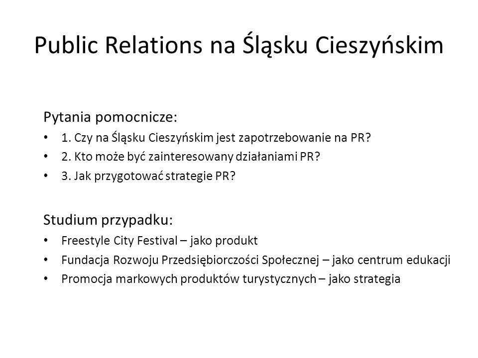 Public Relations na Śląsku Cieszyńskim Pytania pomocnicze: 1. Czy na Śląsku Cieszyńskim jest zapotrzebowanie na PR? 2. Kto może być zainteresowany dzi