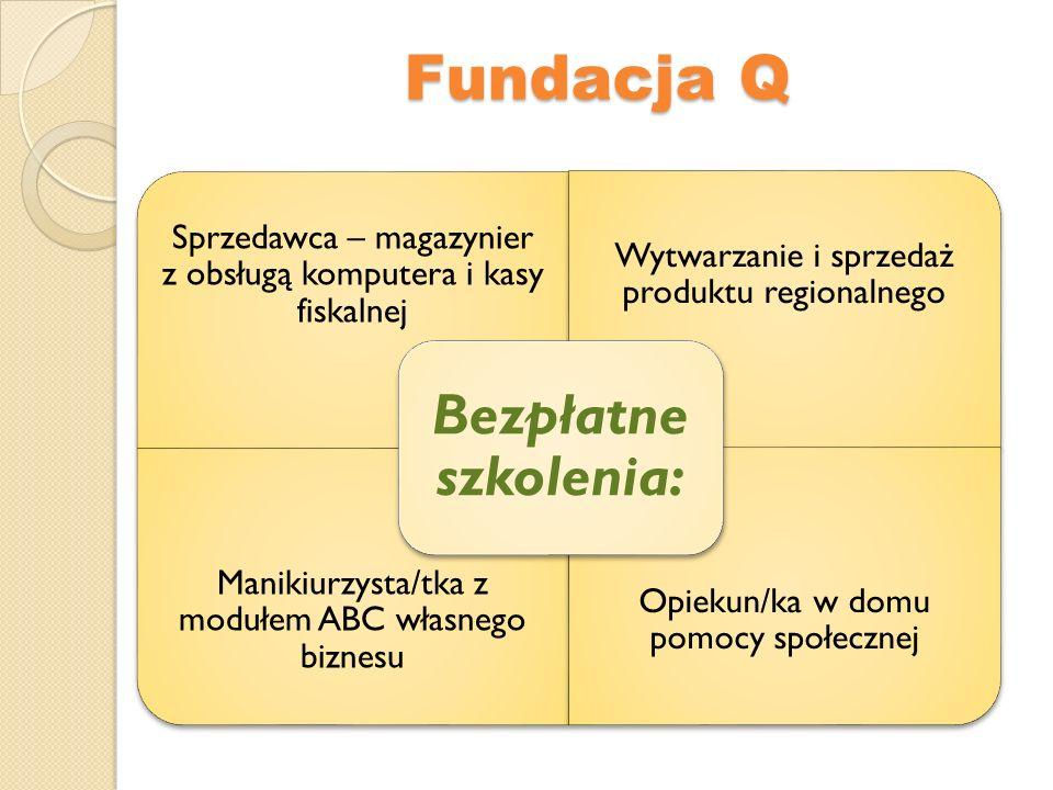 Fundacja Q ZORGANIZUJEMY: 8 grup szkoleniowych (15 osób) Miejsca realizacji szkoleń: Lublin Zamość Chełm inna miejscowość, na terenie której zgłosi się wystarczająca ilość osób chętnych do udziału w projekcie.