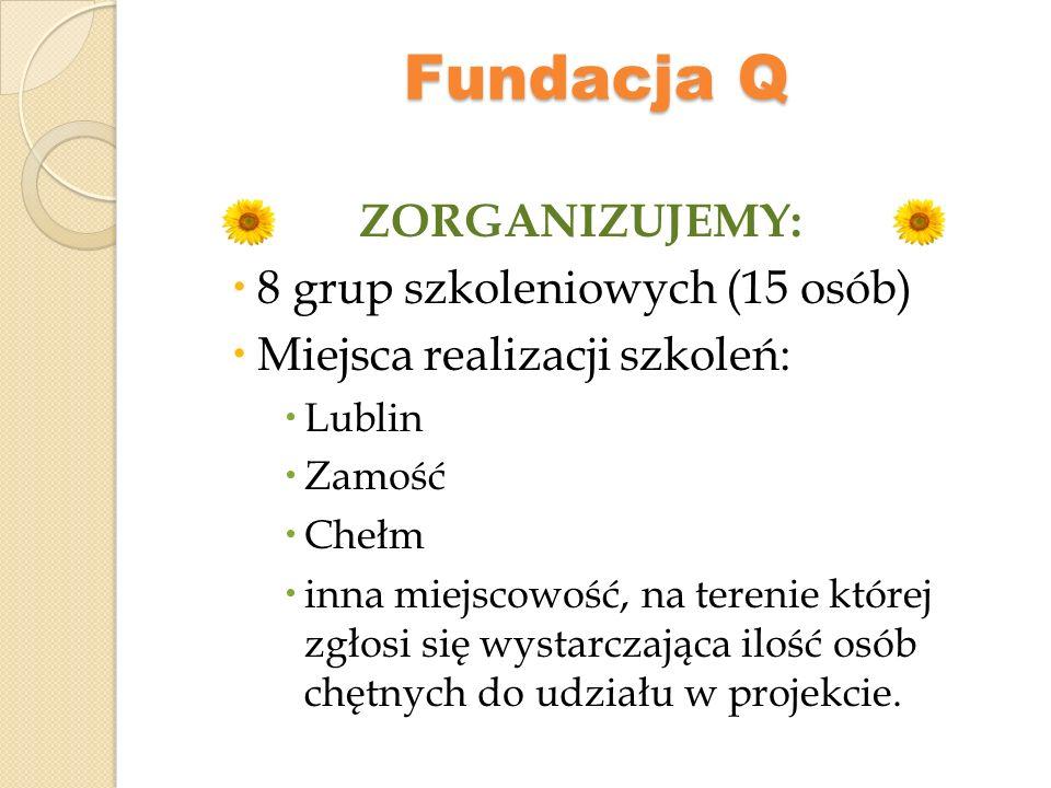 Fundacja Q WARUNKI UDZIAŁU W PROJEKCIE: posiadanie statusu rolnika ubezpieczonego w KRUS lub jego domownika, z wyłączeniem emerytów i osób zarejestrowanych jako bezrobotne, mieszkanie w gminie wiejskiej, wiejsko – miejskiej i mieście do 25 tys.