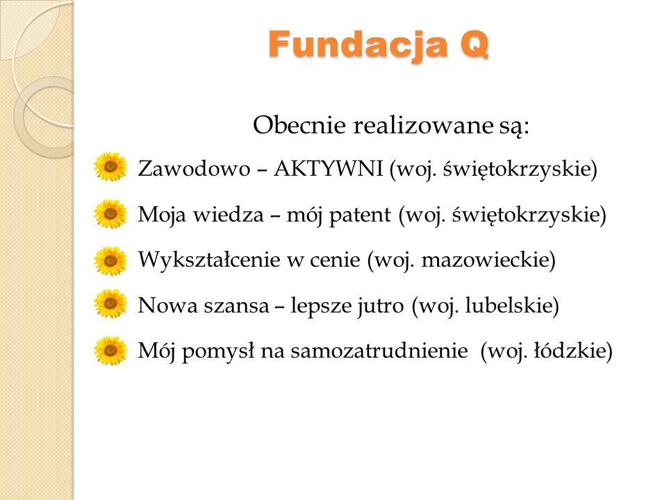 Fundacja Q Projekt Nowa szansa – lepsze jutro współfinansowany jest ze środków Unii Europejskiej w ramach Europejskiego Funduszu Społecznego.
