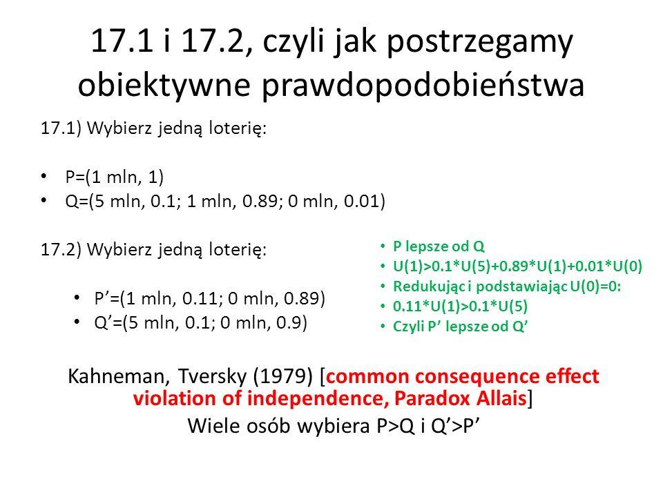 17.1 i 17.2, czyli jak postrzegamy obiektywne prawdopodobieństwa 17.1) Wybierz jedną loterię: P=(1 mln, 1) Q=(5 mln, 0.1; 1 mln, 0.89; 0 mln, 0.01) 17.2) Wybierz jedną loterię: P=(1 mln, 0.11; 0 mln, 0.89) Q=(5 mln, 0.1; 0 mln, 0.9) Kahneman, Tversky (1979) [common consequence effect violation of independence, Paradox Allais] Wiele osób wybiera P>Q i Q>P P lepsze od Q U(1)>0.1*U(5)+0.89*U(1)+0.01*U(0) Redukując i podstawiając U(0)=0: 0.11*U(1)>0.1*U(5) Czyli P lepsze od Q