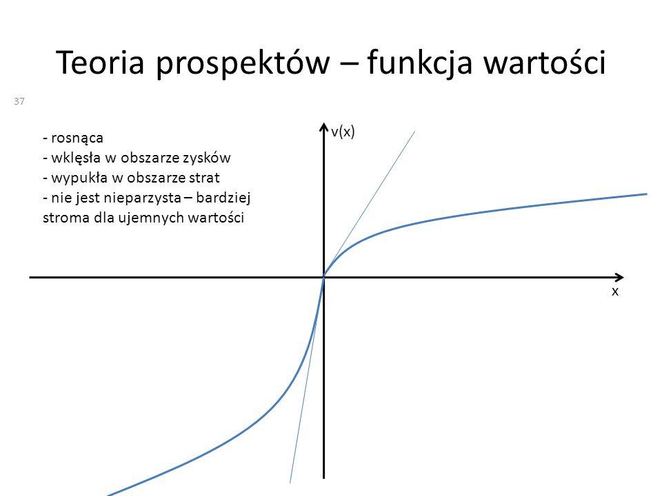 Teoria prospektów – funkcja wartości x v(x) - rosnąca - wklęsła w obszarze zysków - wypukła w obszarze strat - nie jest nieparzysta – bardziej stroma dla ujemnych wartości 37