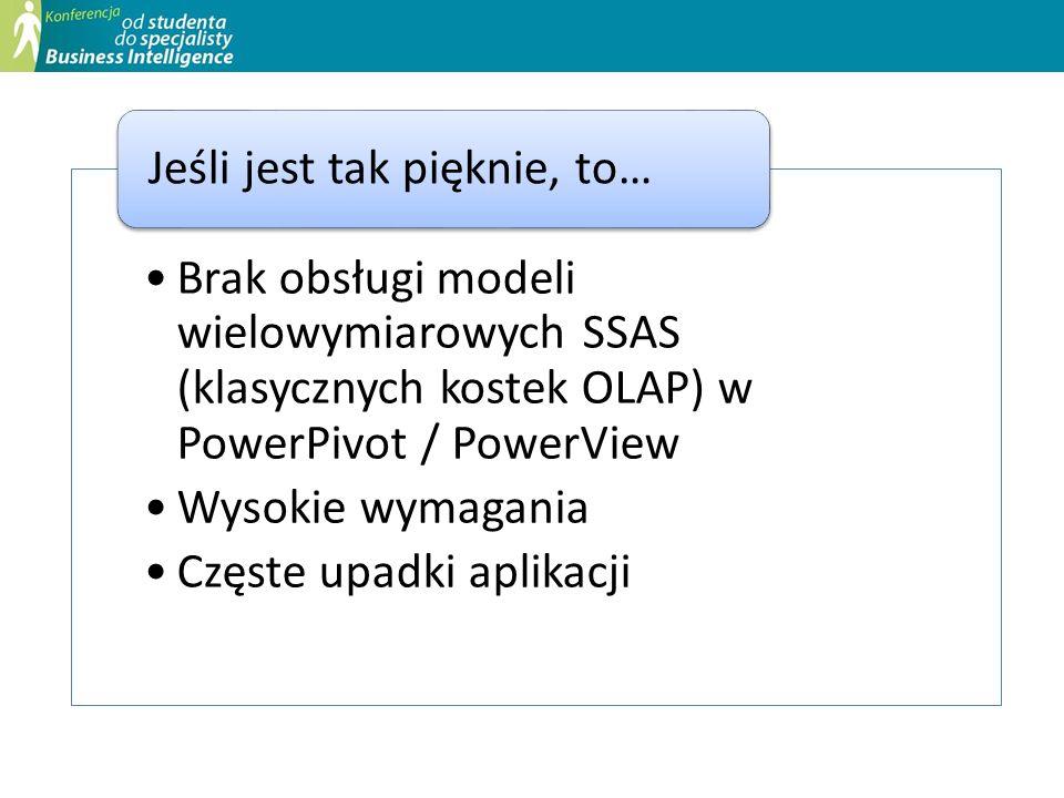 Brak obsługi modeli wielowymiarowych SSAS (klasycznych kostek OLAP) w PowerPivot / PowerView Wysokie wymagania Częste upadki aplikacji Jeśli jest tak
