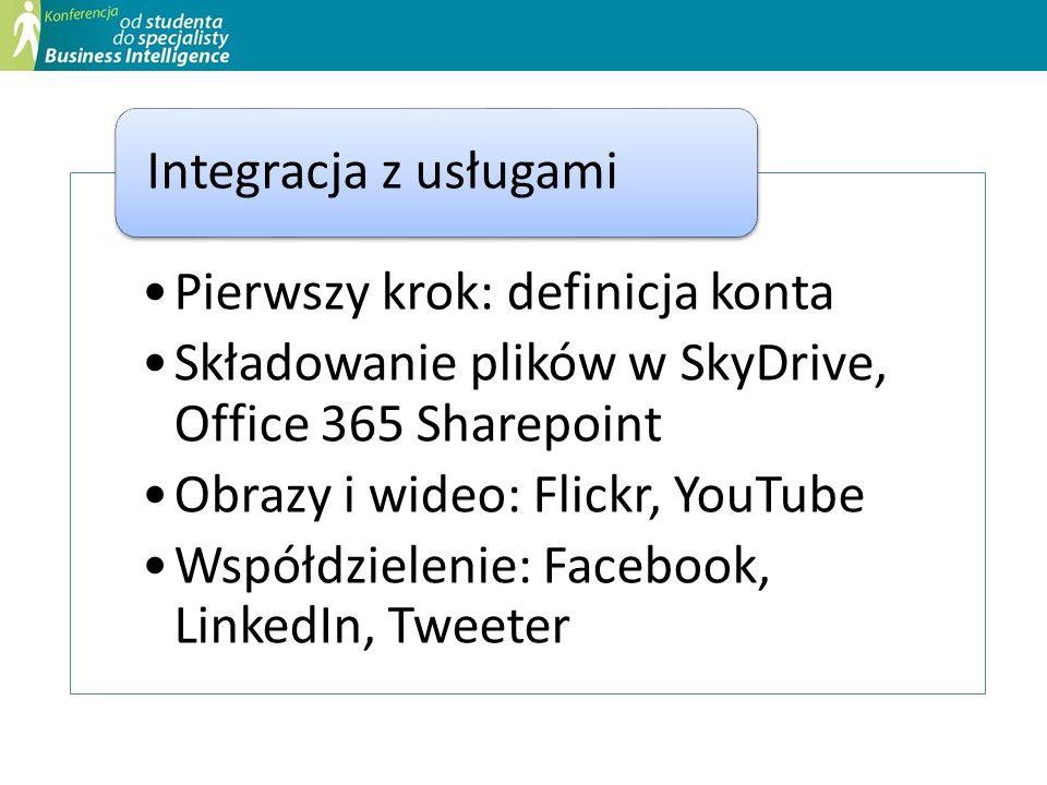 Pierwszy krok: definicja konta Składowanie plików w SkyDrive, Office 365 Sharepoint Obrazy i wideo: Flickr, YouTube Współdzielenie: Facebook, LinkedIn