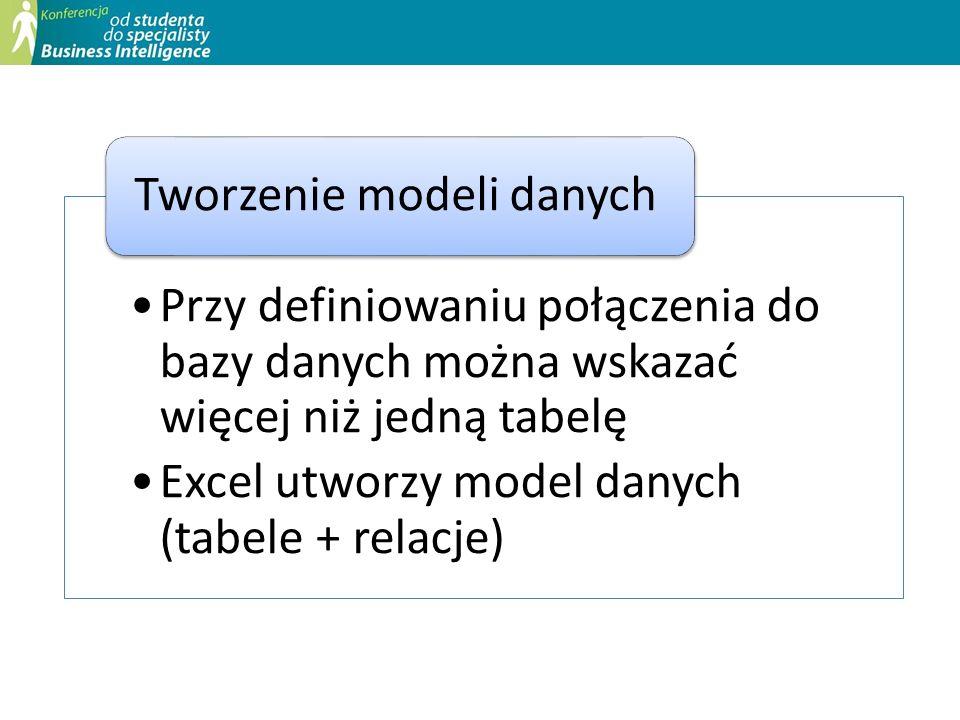 Przy definiowaniu połączenia do bazy danych można wskazać więcej niż jedną tabelę Excel utworzy model danych (tabele + relacje) Tworzenie modeli danyc