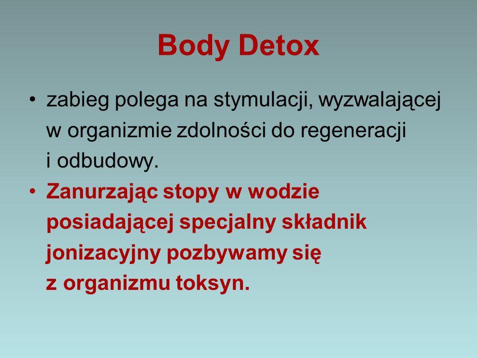 Body Detox zabieg polega na stymulacji, wyzwalającej w organizmie zdolności do regeneracji i odbudowy. Zanurzając stopy w wodzie posiadającej specjal
