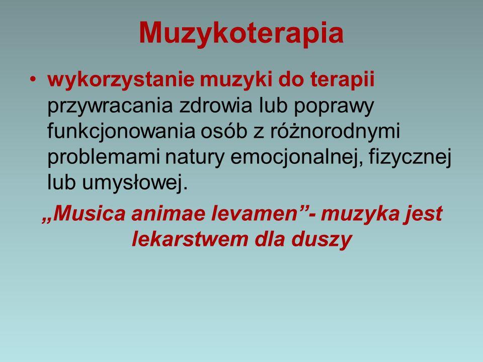 Muzykoterapia wykorzystanie muzyki do terapii przywracania zdrowia lub poprawy funkcjonowania osób z różnorodnymi problemami natury emocjonalnej, fizy