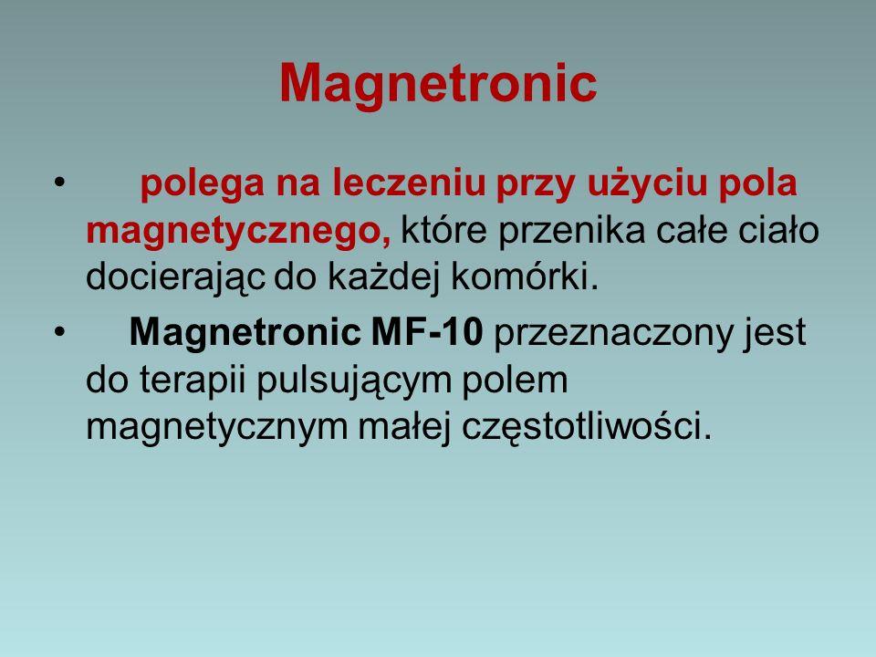 Magnetronic polega na leczeniu przy użyciu pola magnetycznego, które przenika całe ciało docierając do każdej komórki. Magnetronic MF-10 przeznaczony