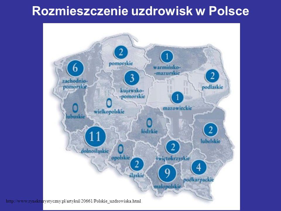 Rozmieszczenie uzdrowisk w Polsce http://www.rynekturystyczny.pl/artykul/20661/Polskie_uzdrowiska.html