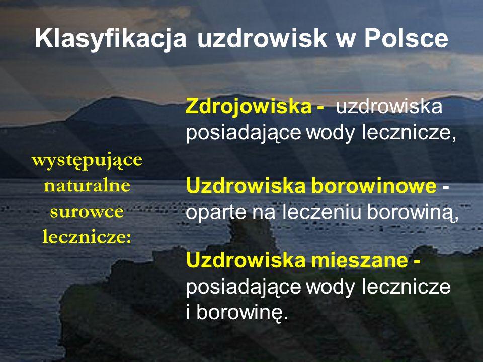 Klasyfikacja uzdrowisk w Polsce Zdrojowiska - uzdrowiska posiadające wody lecznicze, Uzdrowiska borowinowe - oparte na leczeniu borowiną, Uzdrowiska m