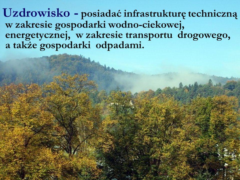Uzdrowisko - posiadać infrastrukturę techniczną w zakresie gospodarki wodno-ciekowej, energetycznej, w zakresie transportu drogowego, a także gospodar