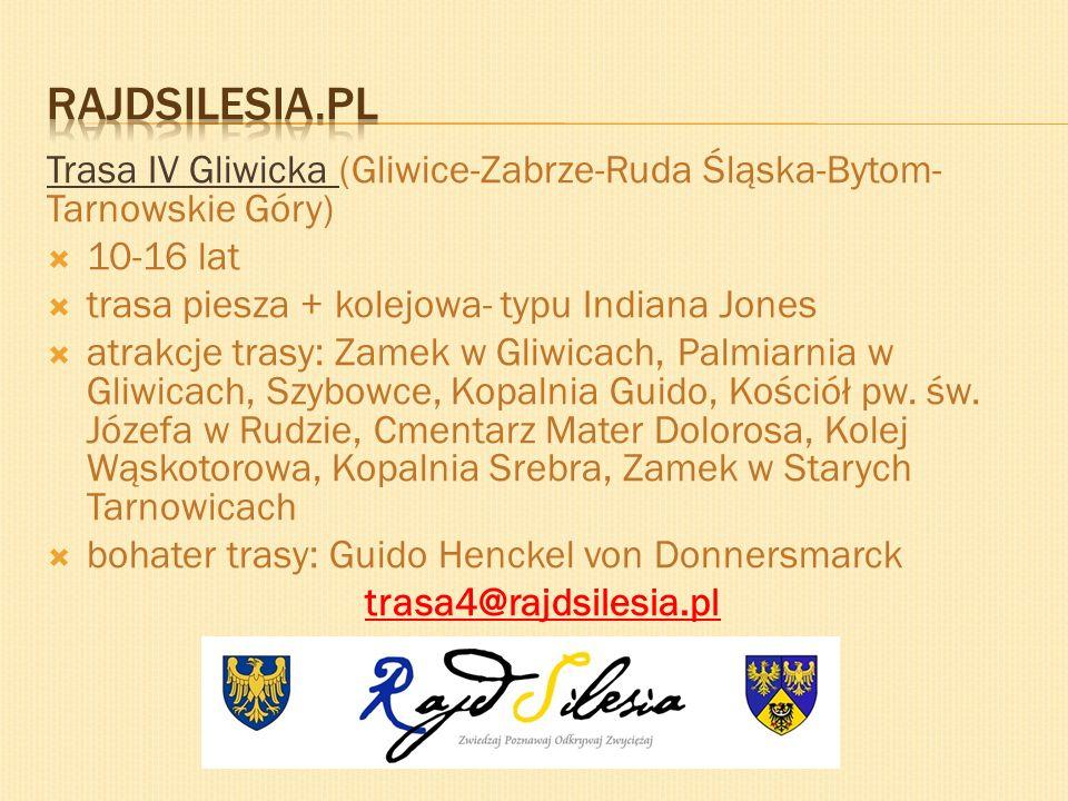 Trasa IV Gliwicka (Gliwice-Zabrze-Ruda Śląska-Bytom- Tarnowskie Góry) 10-16 lat trasa piesza + kolejowa- typu Indiana Jones atrakcje trasy: Zamek w Gl